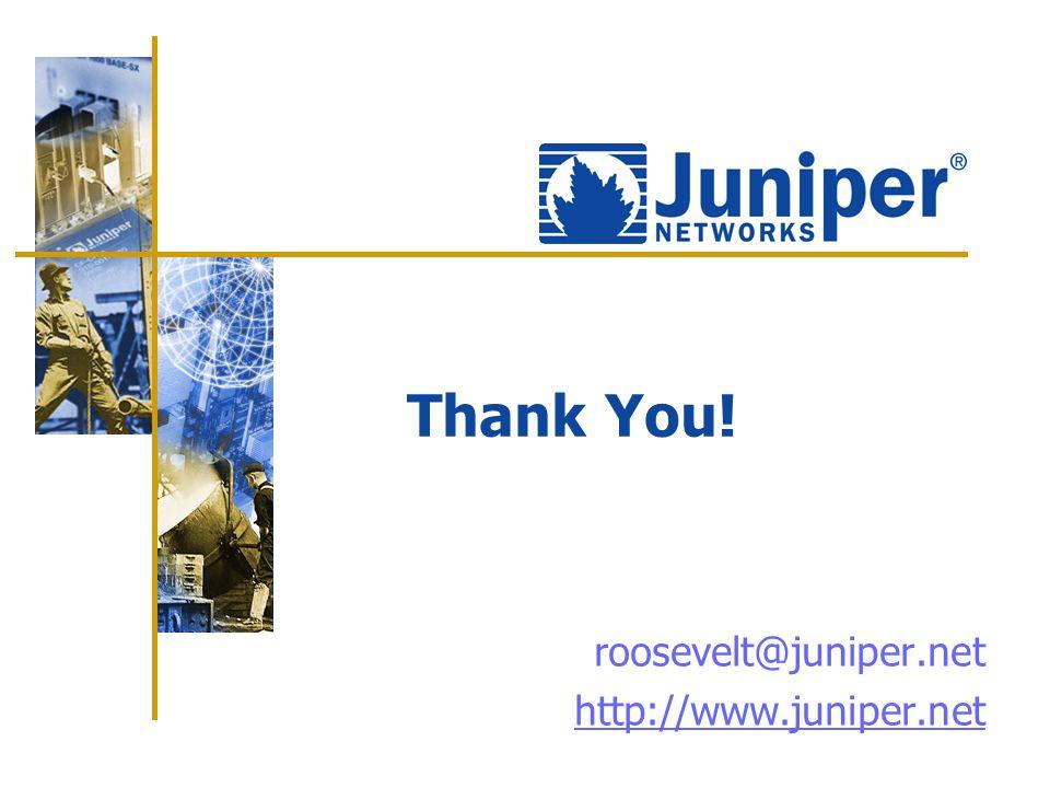 roosevelt@juniper.net http://www.juniper.net Thank You!