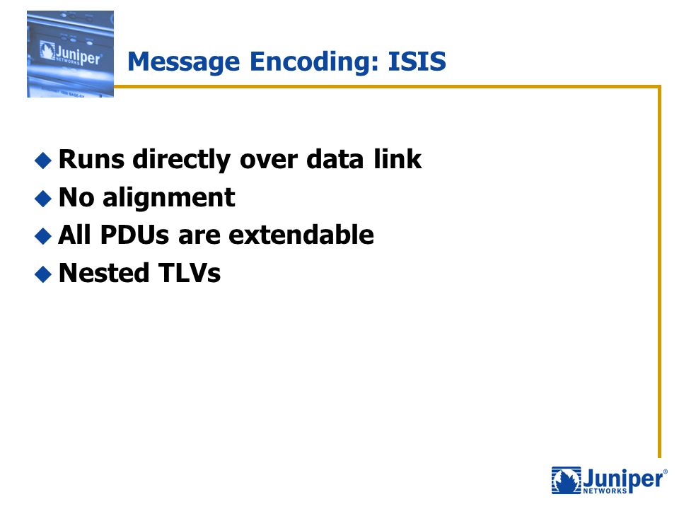Message Encoding: ISIS  Runs directly over data link  No alignment  All PDUs are extendable  Nested TLVs