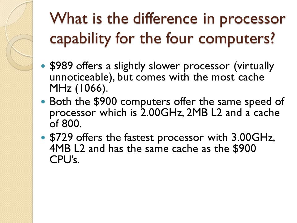 What is the difference in processor capability for the four computers.