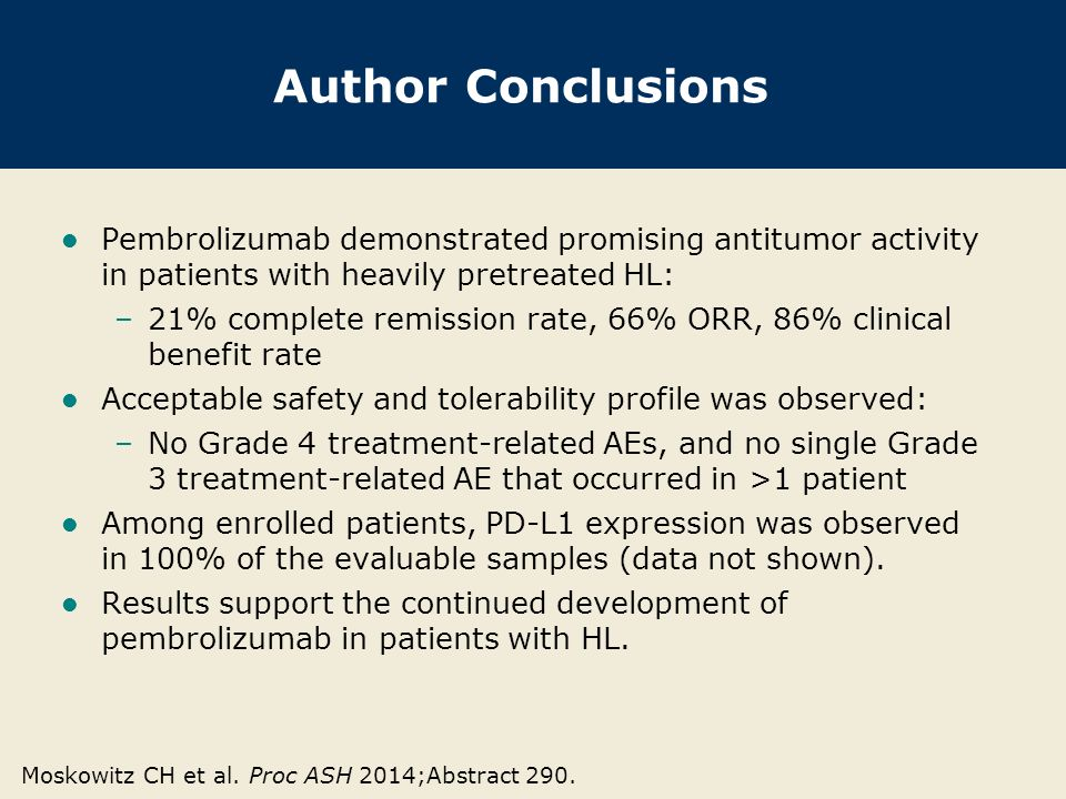Author Conclusions Pembrolizumab demonstrated promising antitumor activity in patients with heavily pretreated HL: –21% complete remission rate, 66% O