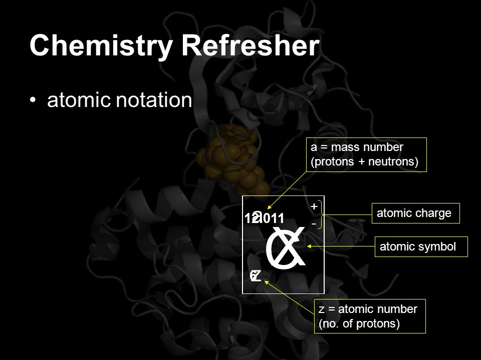 Chemistry Refresher Atomic number –The number of protons = the number of electrons –Number of electrons in the outer shell determines stability and atoms ability to gain additional electrons lose electrons –This gain/loss of electrons is accomplished by donating, accepting or sharing electrons
