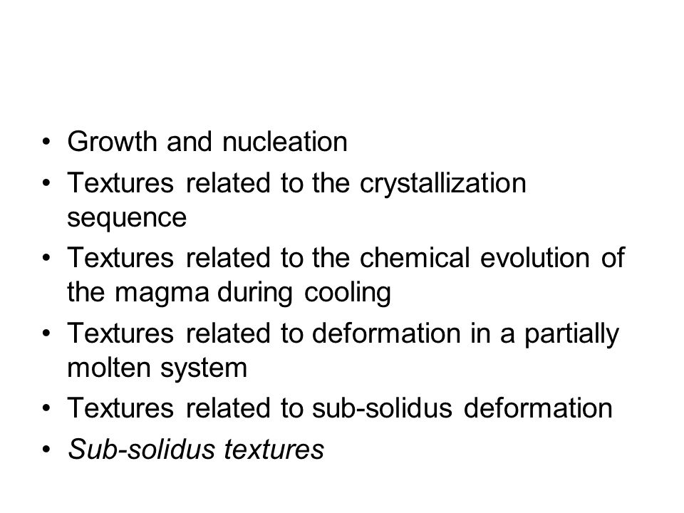 1- Growth and nucleation Textures related to the growth rate of crystals