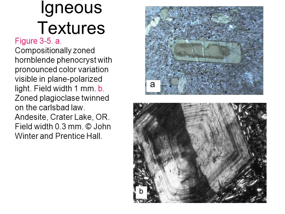 Igneous Textures Figure 3-5. a. Compositionally zoned hornblende phenocryst with pronounced color variation visible in plane-polarized light. Field wi
