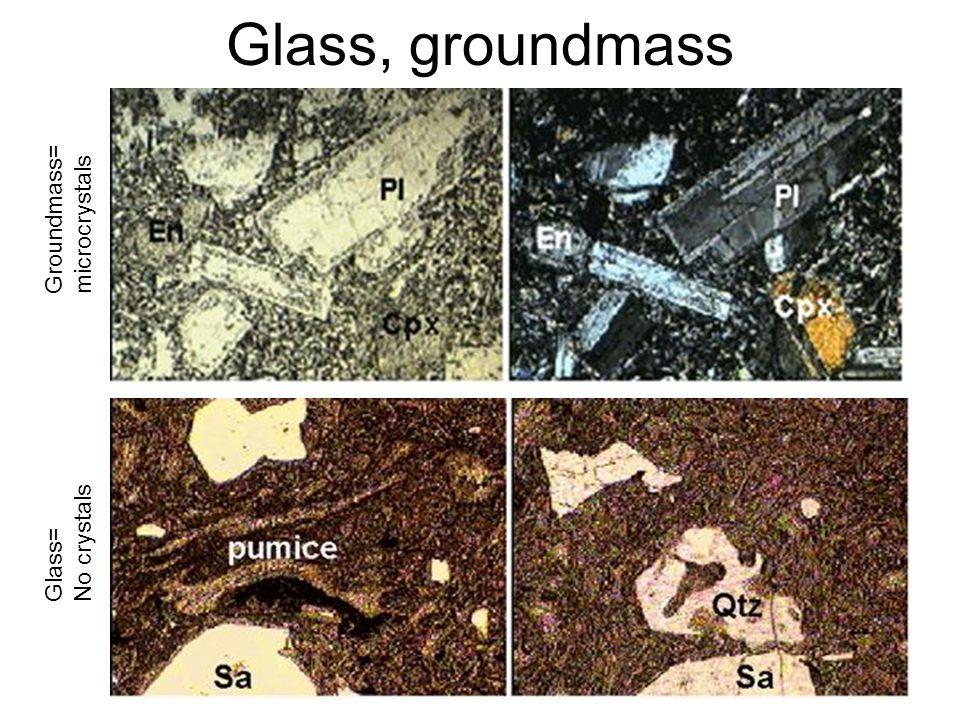 Glass, groundmass Groundmass= microcrystals Glass= No crystals