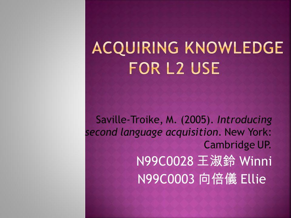 Saville-Troike, M. (2005). Introducing second language acquisition.