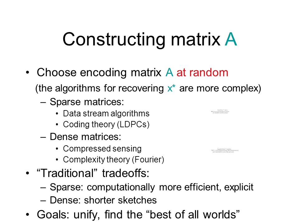 Constructing matrix A Choose encoding matrix A at random (the algorithms for recovering x* are more complex) –Sparse matrices: Data stream algorithms Coding theory (LDPCs) –Dense matrices: Compressed sensing Complexity theory (Fourier) Traditional tradeoffs: –Sparse: computationally more efficient, explicit –Dense: shorter sketches Goals: unify, find the best of all worlds