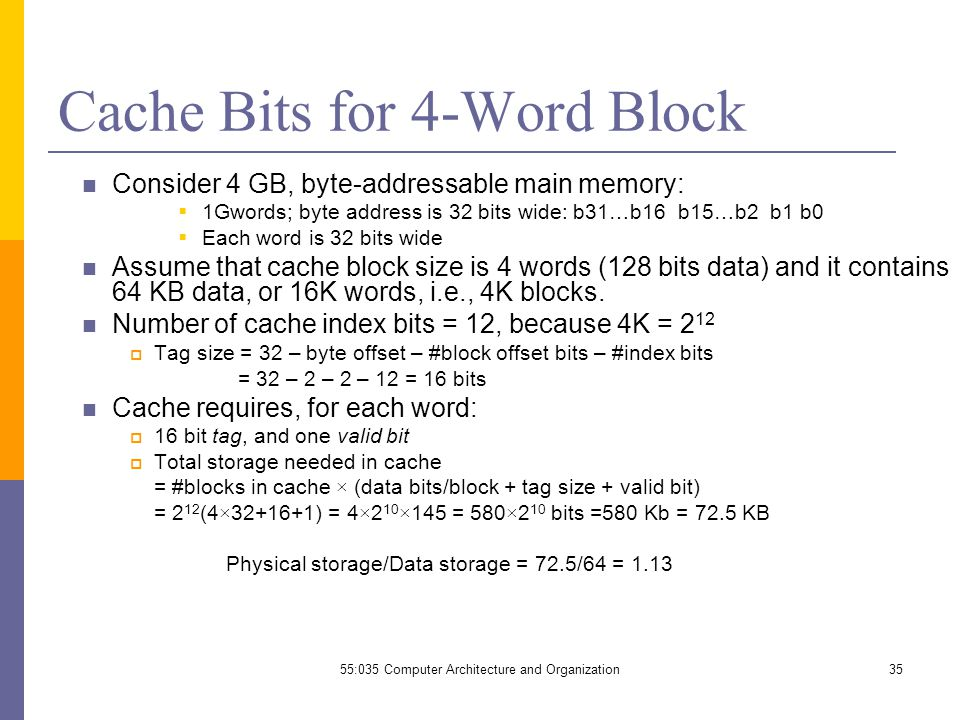 55:035 Computer Architecture and Organization35 Cache Bits for 4-Word Block Consider 4 GB, byte-addressable main memory:  1Gwords; byte address is 32 bits wide: b31…b16 b15…b2 b1 b0  Each word is 32 bits wide Assume that cache block size is 4 words (128 bits data) and it contains 64 KB data, or 16K words, i.e., 4K blocks.