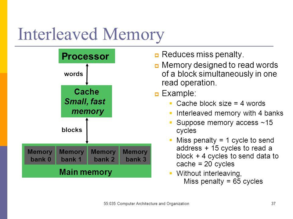 37 Interleaved Memory  Reduces miss penalty.