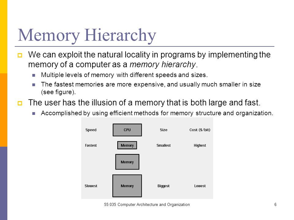  We can exploit the natural locality in programs by implementing the memory of a computer as a memory hierarchy.