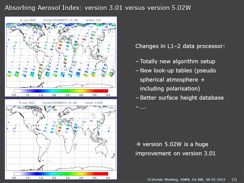 SCIAvisie Meeting, KNMI, De Bilt, 08-02-2013(3) Absorbing Aerosol Index: version 3.01 versus version 5.02W –Totally new algorithm setup –New look-up tables (pseudo spherical atmosphere + including polarisation) –Better surface height database –...