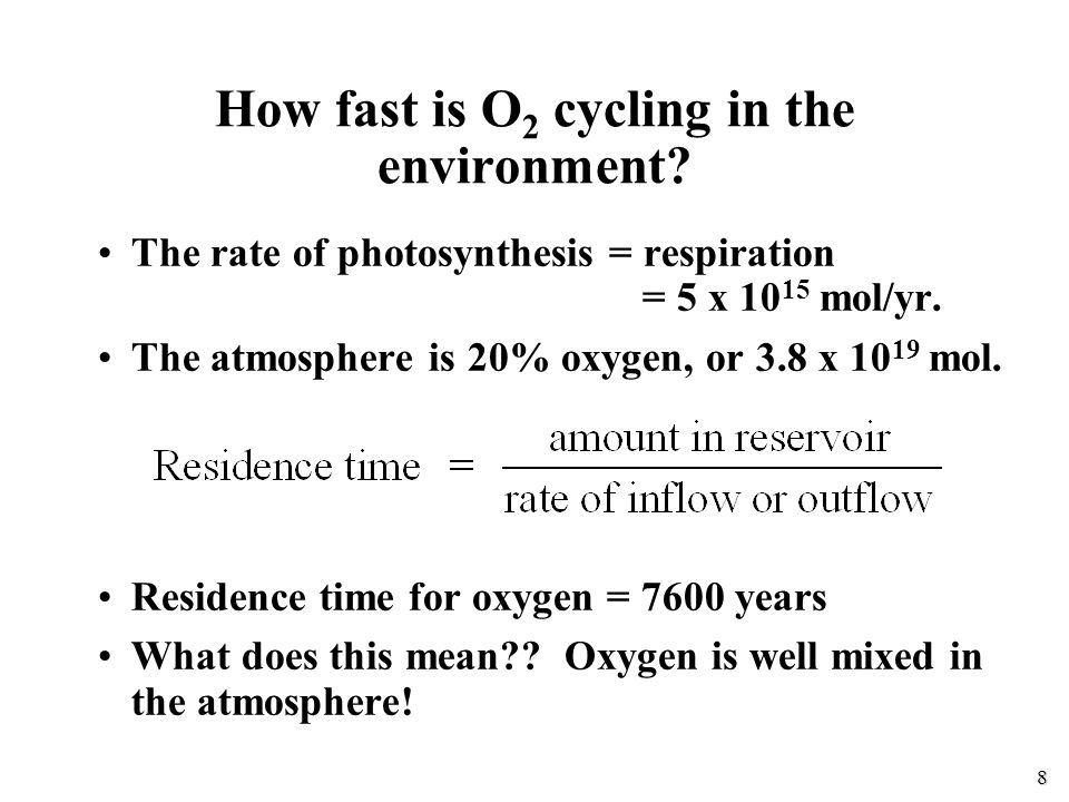 8 The rate of photosynthesis = respiration = 5 x 10 15 mol/yr.