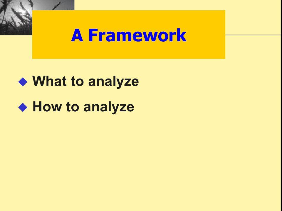 A Framework  What to analyze  How to analyze