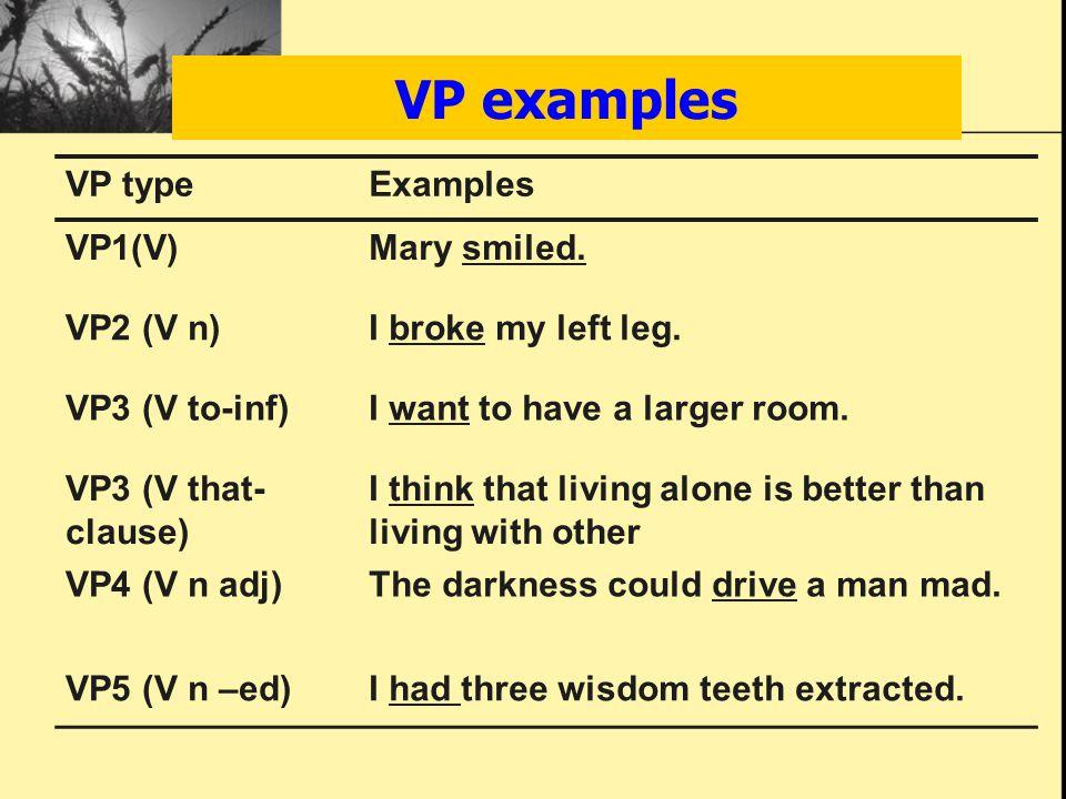VP examples VP typeExamples VP1(V)Mary smiled. VP2 (V n)I broke my left leg.