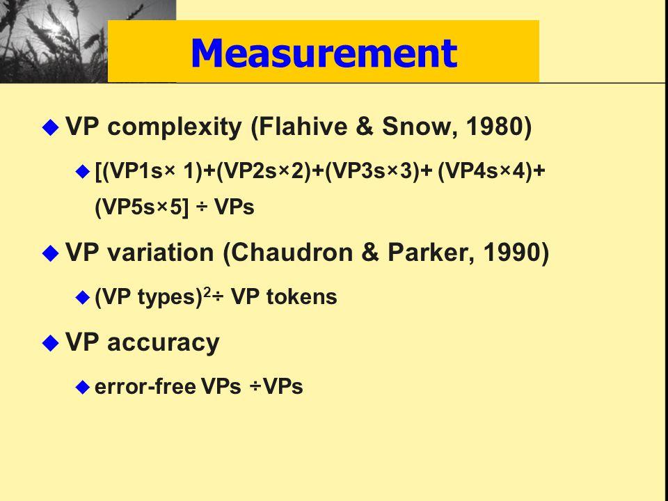  VP complexity (Flahive & Snow, 1980)  [(VP1s× 1)+(VP2s×2)+(VP3s×3)+ (VP4s×4)+ (VP5s×5] ÷ VPs  VP variation (Chaudron & Parker, 1990)  (VP types) 2 ÷ VP tokens  VP accuracy  error-free VPs ÷VPs Measurement