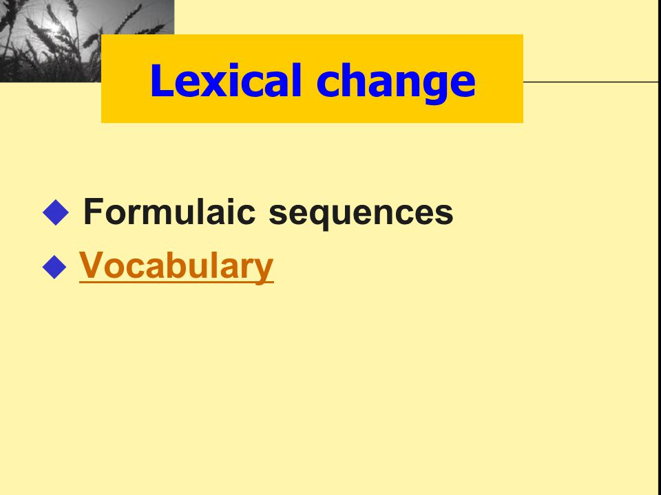  Formulaic sequences  VocabularyVocabulary Lexical change