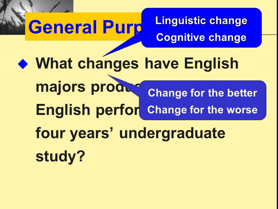 General Purpose  What changes have English majors produced in their oral English performance across four years' undergraduate study.