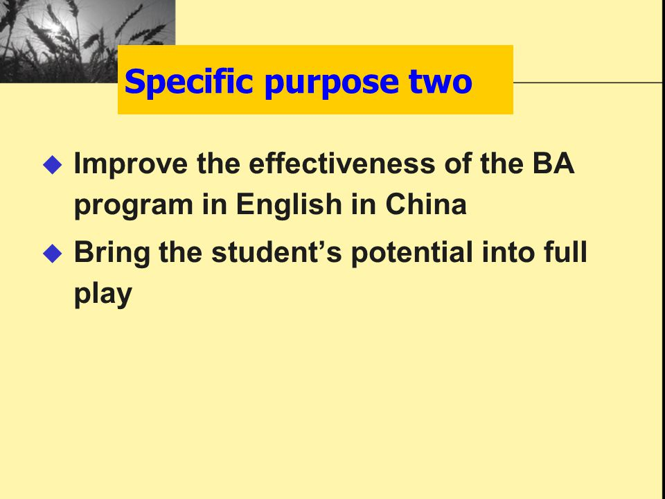  Improve the effectiveness of the BA program in English in China  Bring the student's potential into full play Specific purpose two