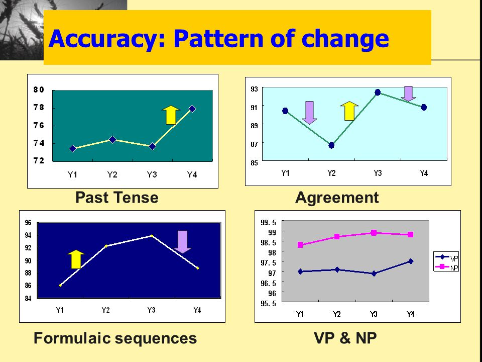 Accuracy: Pattern of change Past TenseAgreement Formulaic sequencesVP & NP
