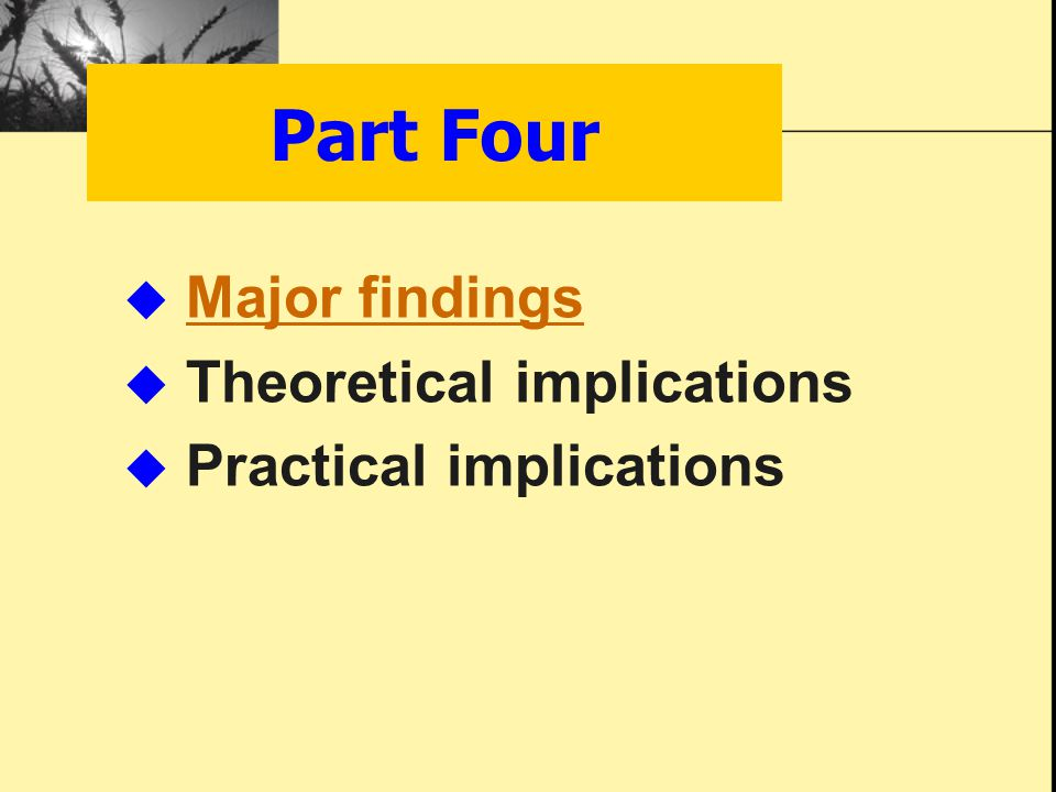  Major findings Major findings  Theoretical implications  Practical implications Part Four