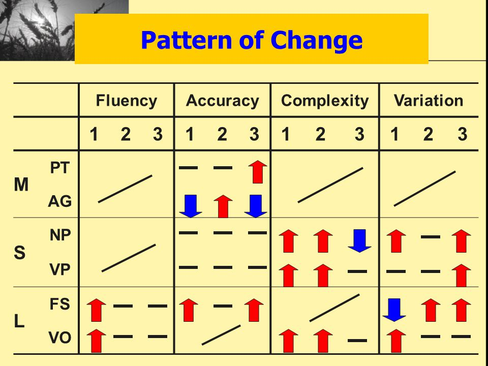 Pattern of Change FluencyAccuracyComplexityVariation 123123123123 M PT AG S NP VP L FS VO