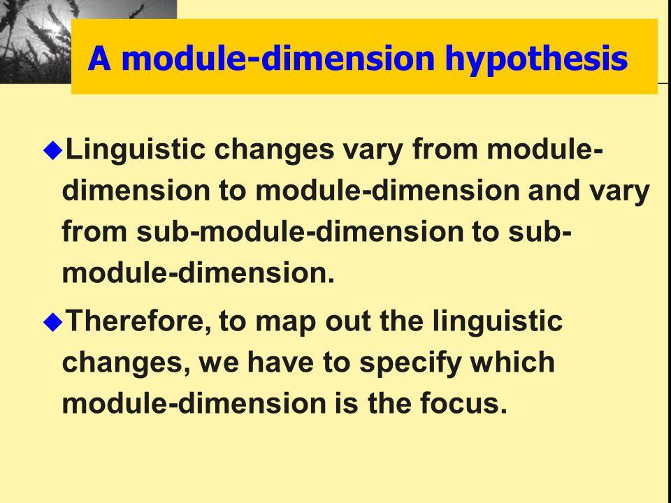 A module-dimension hypothesis  Linguistic changes vary from module- dimension to module-dimension and vary from sub-module-dimension to sub- module-d