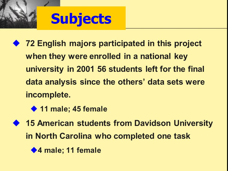 Subjects  72 English majors participated in this project when they were enrolled in a national key university in 2001 56 students left for the final data analysis since the others' data sets were incomplete.