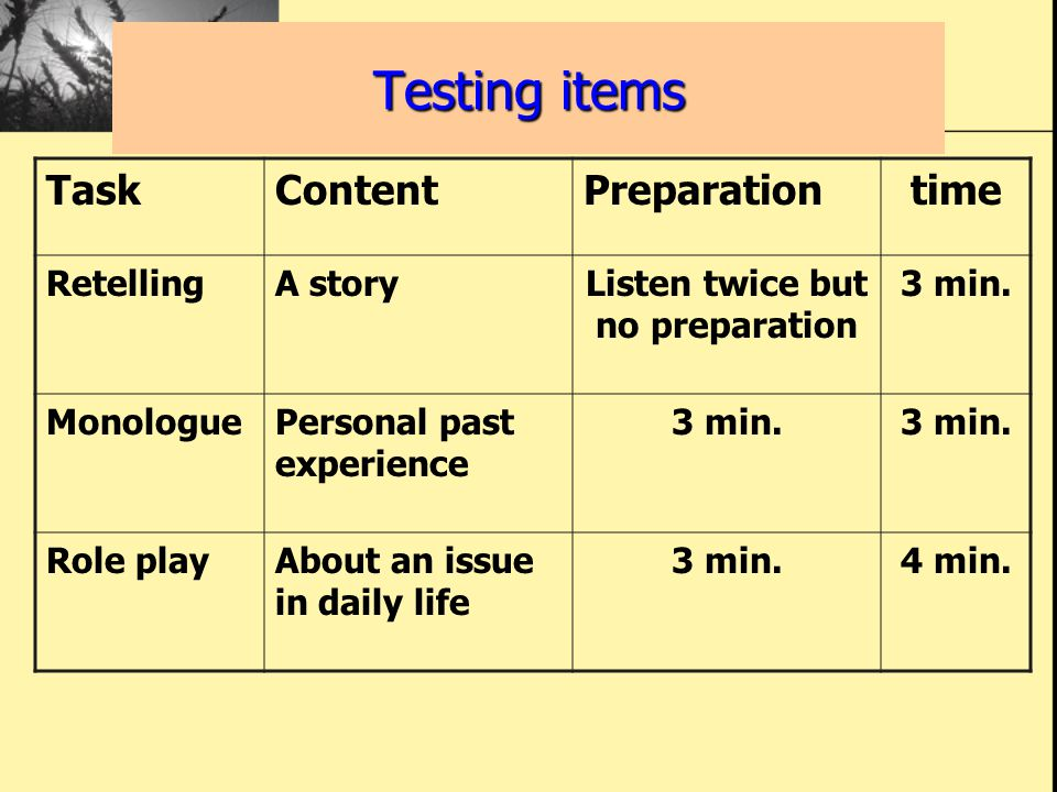 TaskContentPreparationtime RetellingA storyListen twice but no preparation 3 min. MonologuePersonal past experience 3 min. Role playAbout an issue in