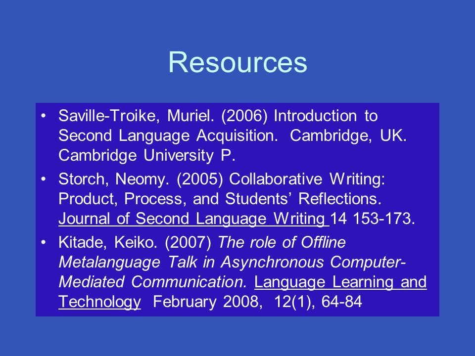 Resources Saville-Troike, Muriel. (2006) Introduction to Second Language Acquisition.