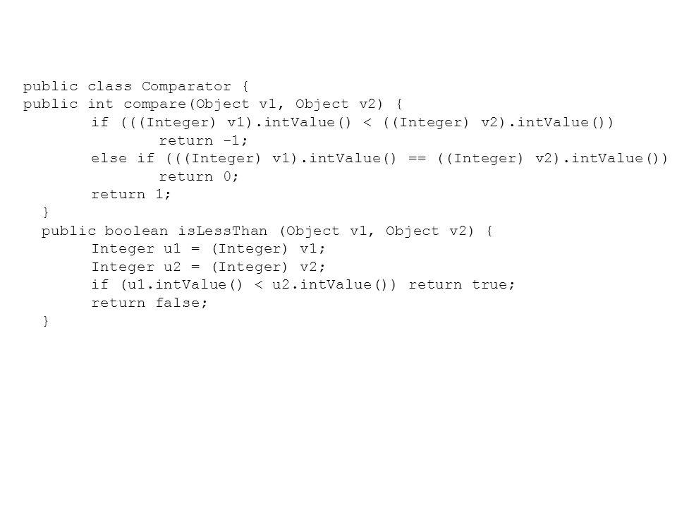 public class Comparator { public int compare(Object v1, Object v2) { if (((Integer) v1).intValue() < ((Integer) v2).intValue()) return -1; else if (((Integer) v1).intValue() == ((Integer) v2).intValue()) return 0; return 1; } public boolean isLessThan (Object v1, Object v2) { Integer u1 = (Integer) v1; Integer u2 = (Integer) v2; if (u1.intValue() < u2.intValue()) return true; return false; }