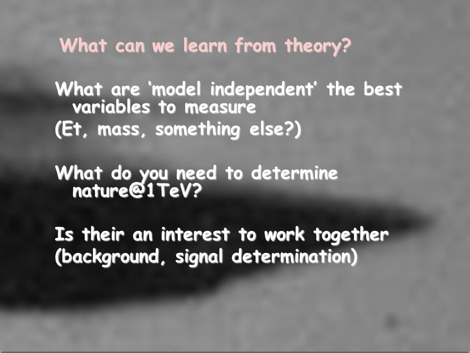 What can we learn from theory.