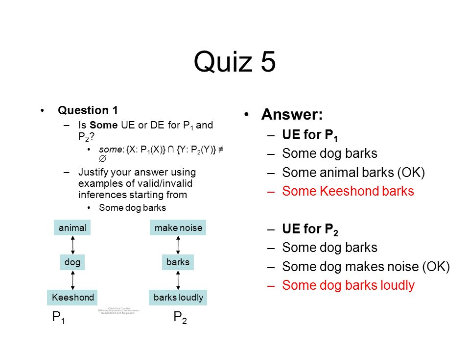 Quiz 5 Question 1 –Is Some UE or DE for P 1 and P 2 .