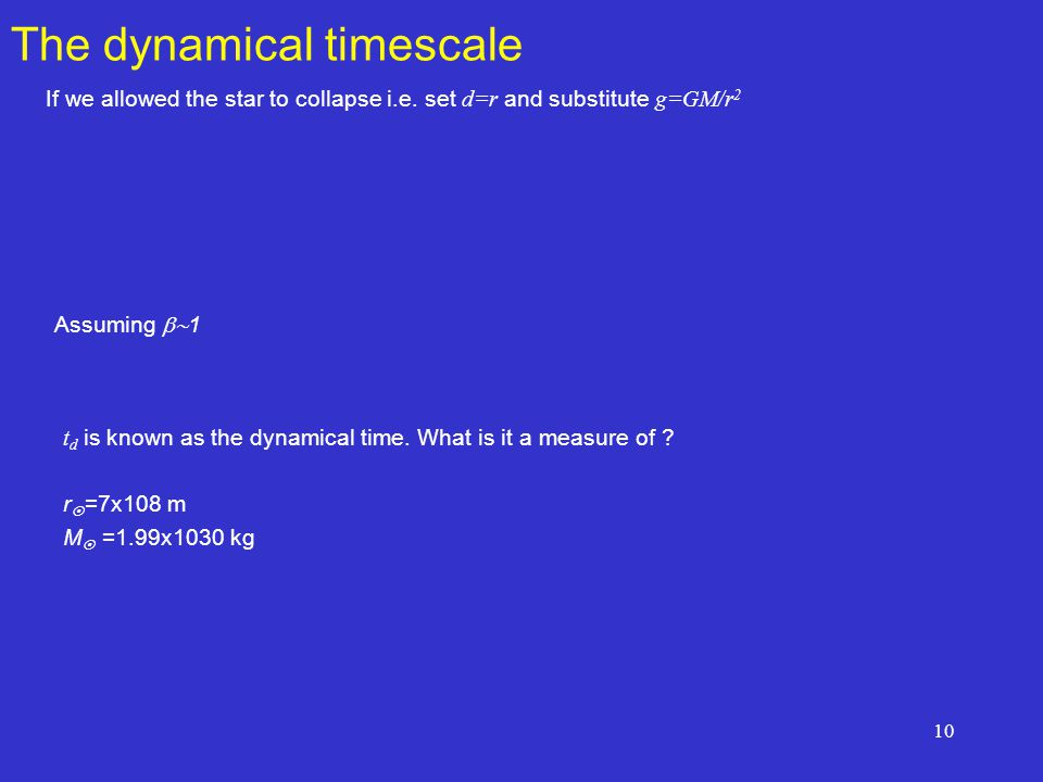 10 The dynamical timescale If we allowed the star to collapse i.e.