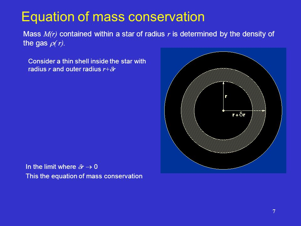 7 Equation of mass conservation Mass M(r) contained within a star of radius r is determined by the density of the gas  ( r).