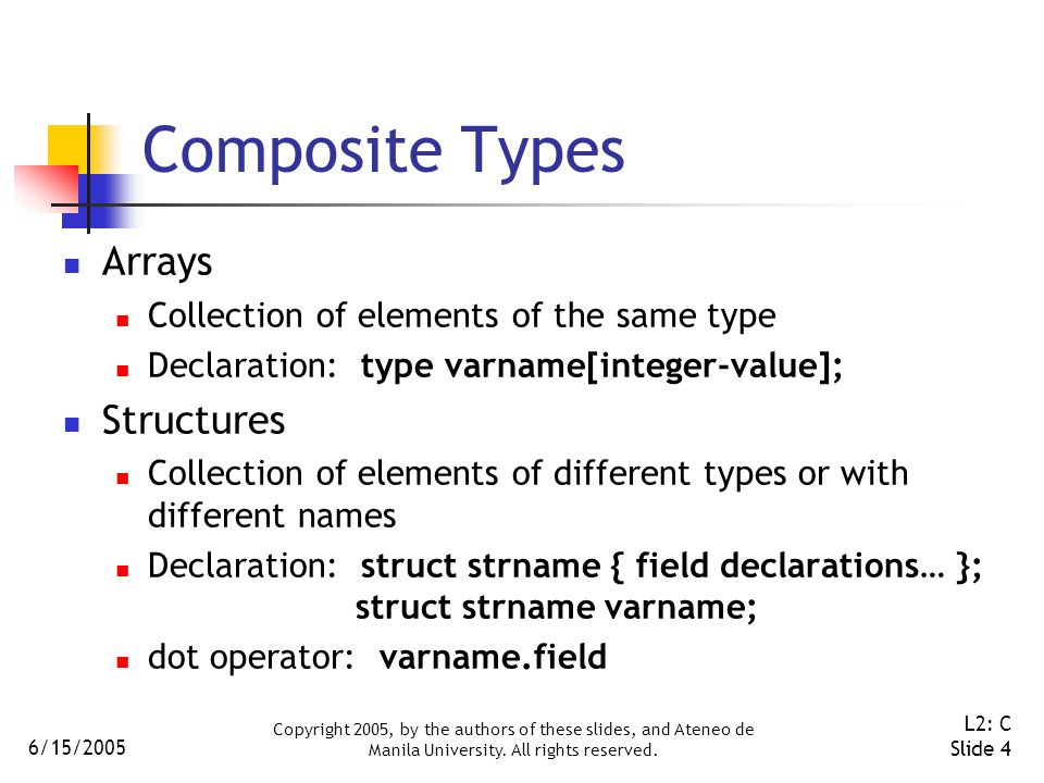 6/15/2005 Copyright 2005, by the authors of these slides, and Ateneo de Manila University. All rights reserved. L2: C Slide 4 Composite Types Arrays C