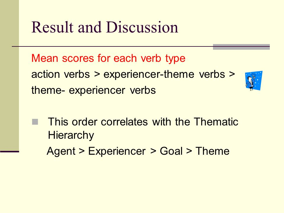 Result and Discussion Mean scores for each verb type action verbs > experiencer-theme verbs > theme- experiencer verbs This order correlates with the