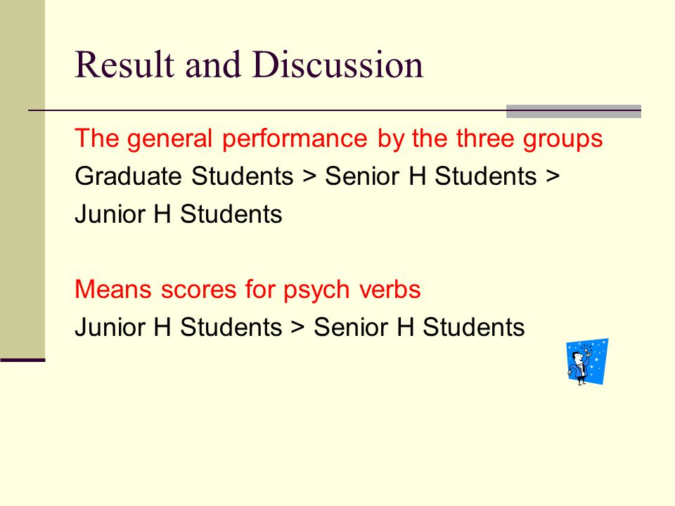 Result and Discussion The general performance by the three groups Graduate Students > Senior H Students > Junior H Students Means scores for psych ver