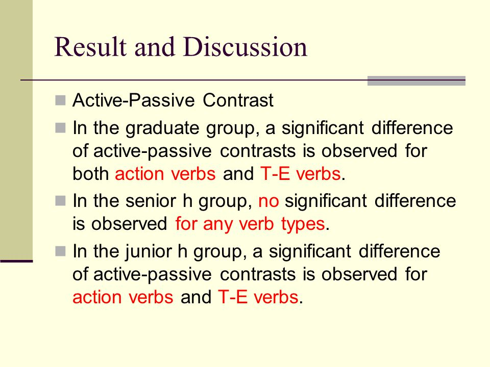Result and Discussion Active-Passive Contrast In the graduate group, a significant difference of active-passive contrasts is observed for both action