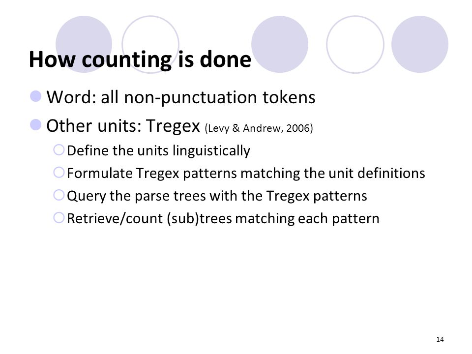 14 How counting is done Word: all non-punctuation tokens Other units: Tregex (Levy & Andrew, 2006)  Define the units linguistically  Formulate Tregex patterns matching the unit definitions  Query the parse trees with the Tregex patterns  Retrieve/count (sub)trees matching each pattern