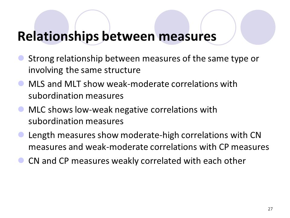 27 Relationships between measures Strong relationship between measures of the same type or involving the same structure MLS and MLT show weak-moderate correlations with subordination measures MLC shows low-weak negative correlations with subordination measures Length measures show moderate-high correlations with CN measures and weak-moderate correlations with CP measures CN and CP measures weakly correlated with each other