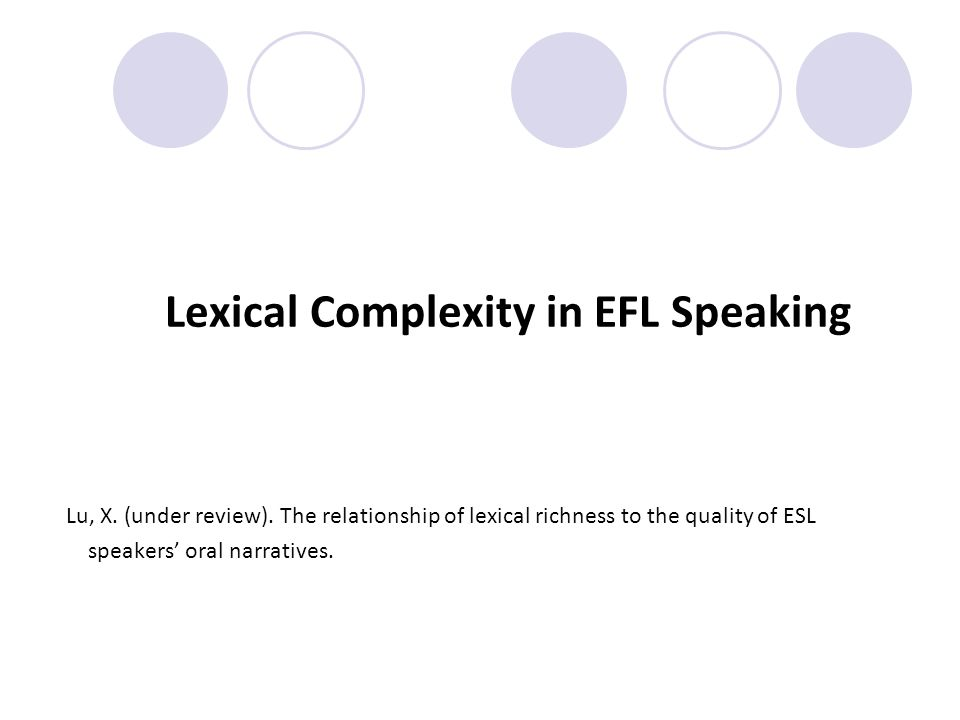 Lexical Complexity in EFL Speaking Lu, X. (under review).