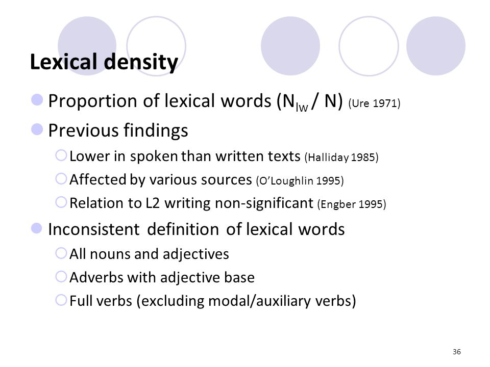 36 Lexical density Proportion of lexical words (N lw / N) (Ure 1971) Previous findings  Lower in spoken than written texts (Halliday 1985)  Affected by various sources (O'Loughlin 1995)  Relation to L2 writing non-significant (Engber 1995) Inconsistent definition of lexical words  All nouns and adjectives  Adverbs with adjective base  Full verbs (excluding modal/auxiliary verbs)