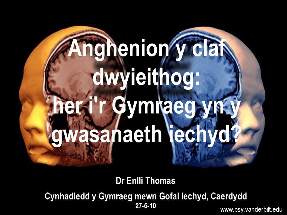 www.psy.vanderbilt.edu Anghenion y claf dwyieithog: her i r Gymraeg yn y gwasanaeth iechyd.