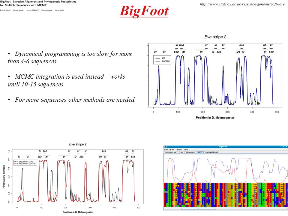 BigFoot http://www.stats.ox.ac.uk/research/genome/software Dynamical programming is too slow for more than 4-6 sequences MCMC integration is used inst