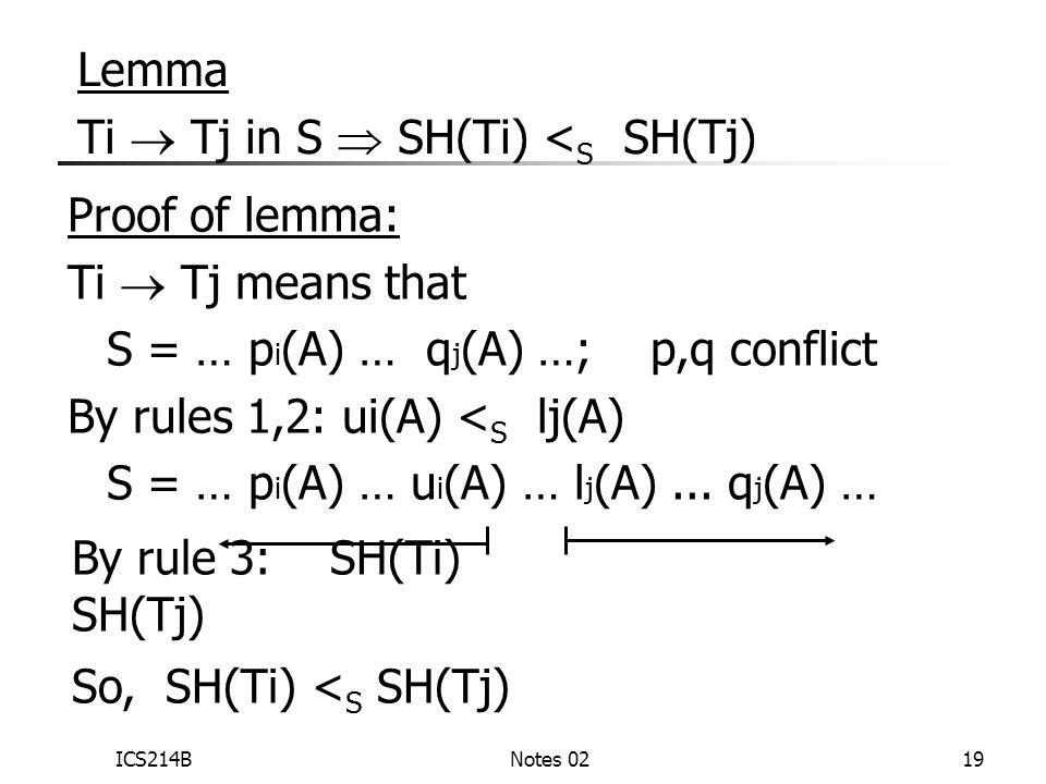 ICS214BNotes 0219 Lemma Ti  Tj in S  SH(Ti) < S SH(Tj) Proof of lemma: Ti  Tj means that S = … p i (A) … q j (A) …; p,q conflict By rules 1,2: ui(A) < S lj(A) S = … p i (A) … u i (A) … l j (A)...