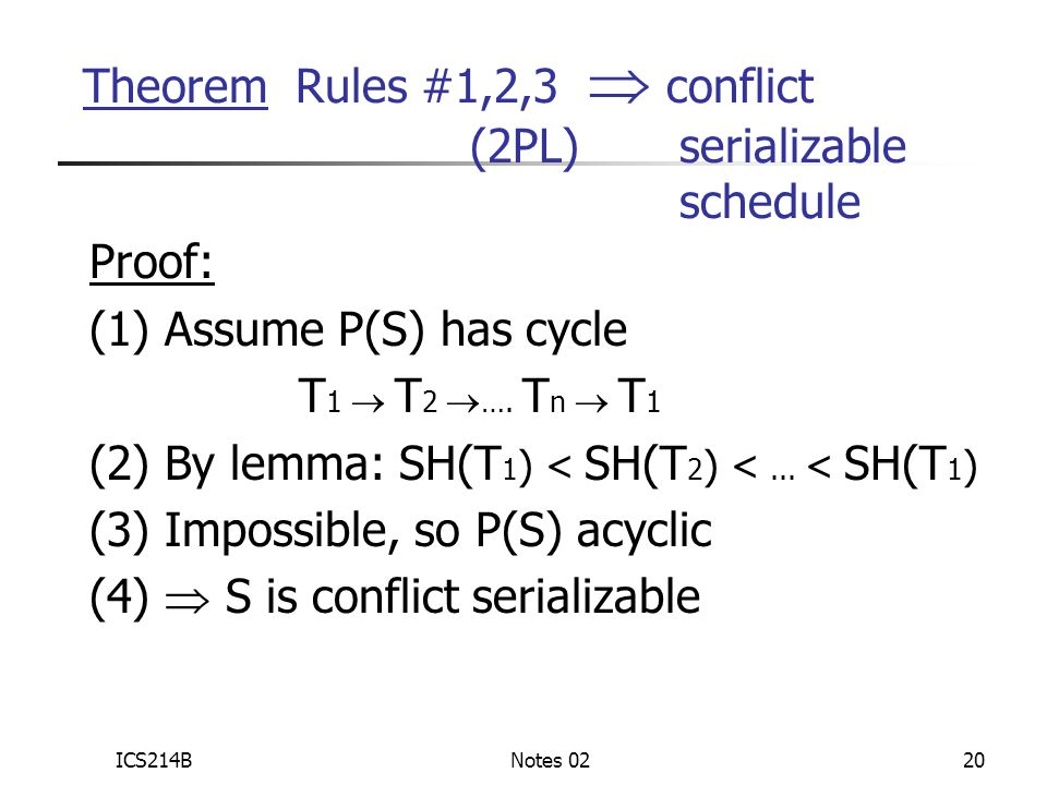 ICS214BNotes 0220 Proof: (1) Assume P(S) has cycle T 1  T 2  ….