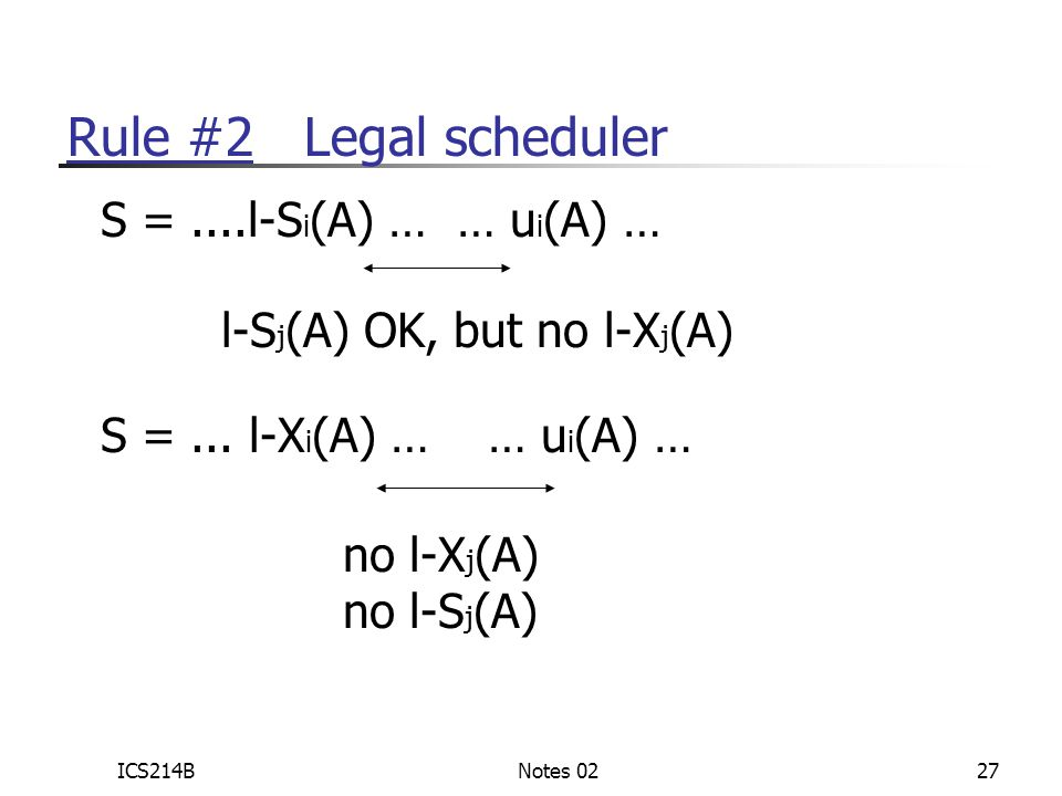 ICS214BNotes 0227 Rule #2 Legal scheduler S =....l-S i (A) … … u i (A) … l-S j (A) OK, but no l-X j (A) S =...