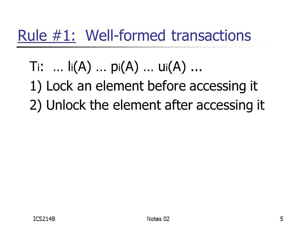 ICS214BNotes 025 Rule #1: Well-formed transactions T i : … l i (A) … p i (A) … u i (A)...