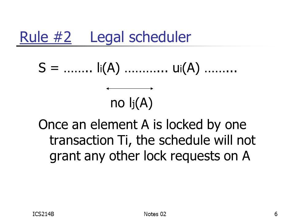 ICS214BNotes 026 Rule #2 Legal scheduler S = …….. l i (A) ………...