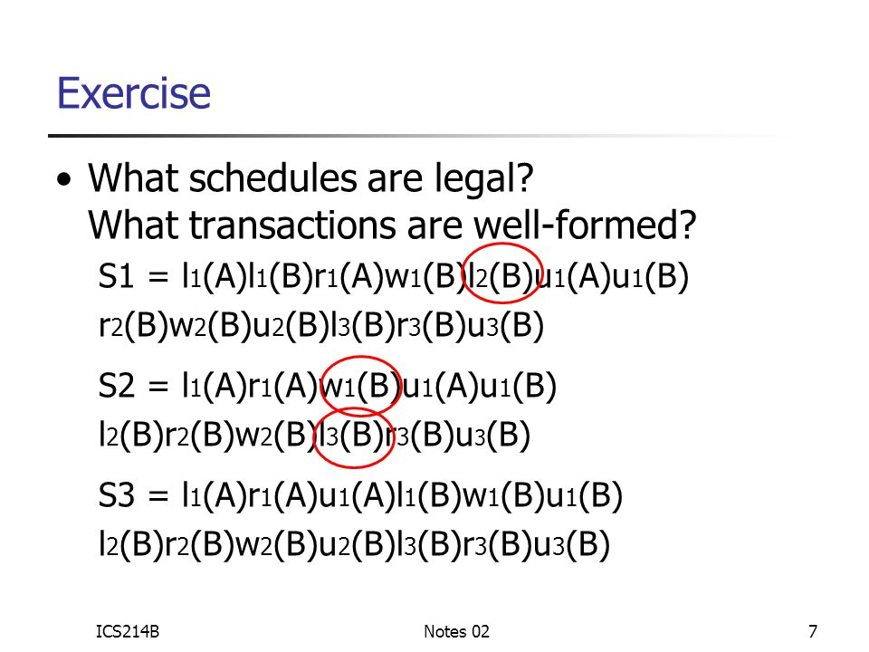 ICS214BNotes 027 What schedules are legal. What transactions are well-formed.