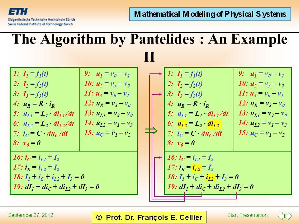 Start Presentation September 27, 2012 The Algorithm by Pantelides : An Example II 1: I 1 = f 1 (t) 2: I 2 = f 2 (t) 3: I 3 = f 3 (t) 4: u R = R · i R 5: u L1 = L 1 · di L1 /dt 6: u L2 = L 2 · di L2 /dt 7: i C = C · du C /dt 8: v 0 = 0 9: u 1 = v 0 – v 1 10: u 2 = v 3 – v 2 11: u 3 = v 0 – v 1 12: u R = v 3 – v 0 13: u L1 = v 2 – v 0 14: u L2 = v 1 – v 3 15: u C = v 1 – v 2 16: i C = i L1 + I 2 17: i R = i L2 + I 2 18: I 1 + i C + i L2 + I 3 = 0 19: dI 1 + di C + di L2 + dI 3 = 0 9: u 1 = v 0 – v 1 10: u 2 = v 3 – v 2 11: u 3 = v 0 – v 1 12: u R = v 3 – v 0 13: u L1 = v 2 – v 0 14: u L2 = v 1 – v 3 15: u C = v 1 – v 2  1: I 1 = f 1 (t) 2: I 2 = f 2 (t) 3: I 3 = f 3 (t) 4: u R = R · i R 5: u L1 = L 1 · di L1 /dt 6: u L2 = L 2 · di L2 7: i C = C · du C /dt 8: v 0 = 0 16: i C = i L1 + I 2 17: i R = i L2 + I 2 18: I 1 + i C + i L2 + I 3 = 0 19: dI 1 + di C + di L2 + dI 3 = 0